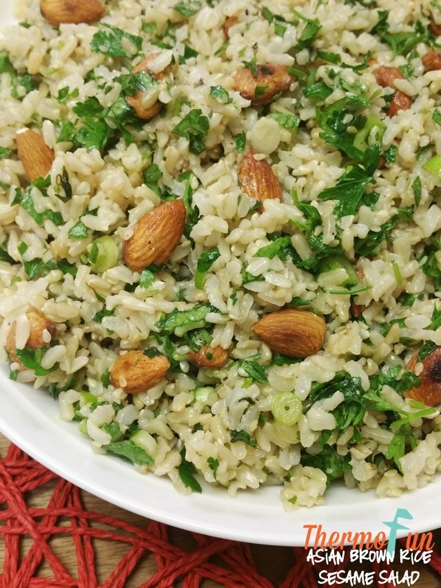 Do you enjoy a great simple salad then you must make this thermomix asian brown rice sesame salad your taste buds will be jumping for joy and the family wil