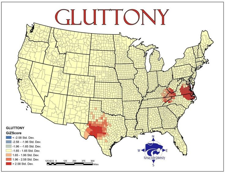 Map Of The U S According To How Often Gluttony Is Committed