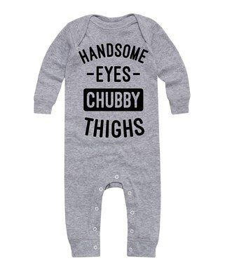 LC Trendz | Athletic Heather 'Handsome Eyes' Long-Sleeve Playsuit- Infant - Infant