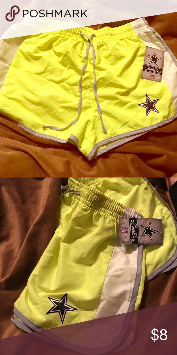 Dallas Cowboys neon yellow shorts. NWT Dallas Cowboys neon yellow shorts. NWT Medium with drawstring Shorts