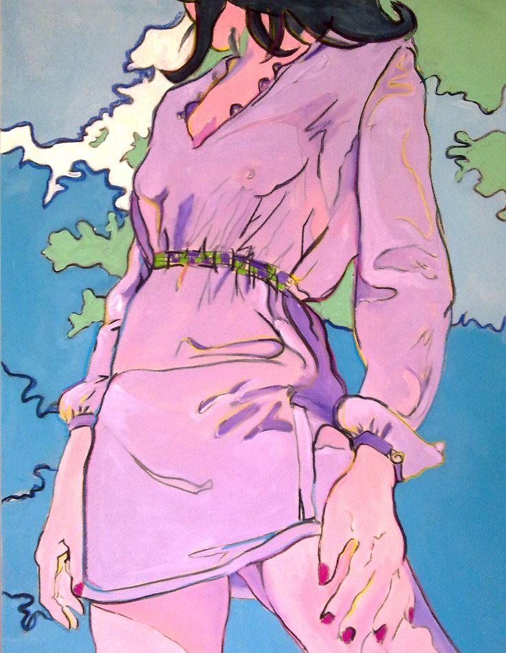 Puffy beach girl canvas