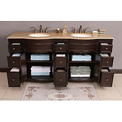 @Overstock - This Katrina bathroom vanity features maximum storage with nine storage drawers and four doors with dividing shelves. The vanity is constructed from solid birch frame with composite panels.http://www.overstock.com/Home-Garden/Katrina-72-inch-Double-Sink-Bathroom-Vanity/3458905/product.html?CID=214117 $1,309.99