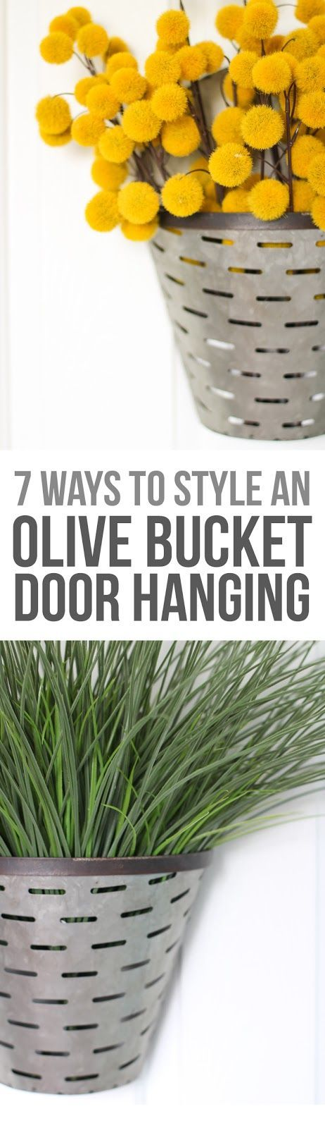 A simple fall wreath idea with farmhouse style that is easy to switch up all year round! Olive bucket decor ideas | Non-traditional door wreaths | Fall wreath decor ideas
