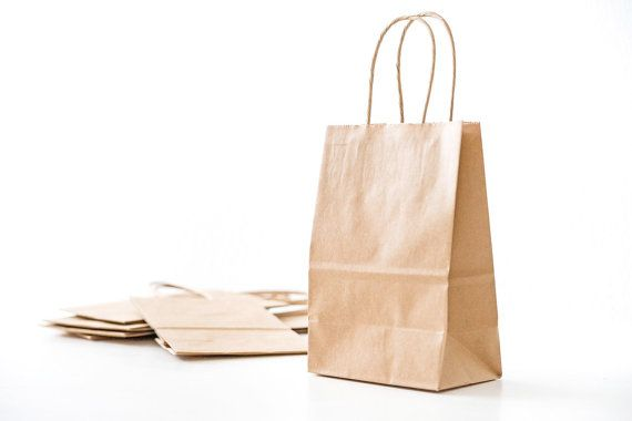 25 Small Brown Kraft Paper Bags with Handles by FancyThatLoved