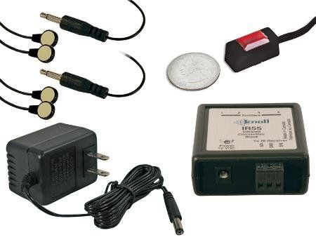 Knoll Systems Single Target Ir Repeater Kit With Black Micro Receiver Connection Block Single Target IR Repeater Kit with Black Micro Receiver.. Infrared receiver: Mini receiver is smaller than a quarter, and ideal for a simple, yet stealthy installation, and the receiver is CFL proof, and plasma friendly.. Connection block: Allows for connection of up to four emitters, and 10 infrared receivers..... #KnollSystems #CE