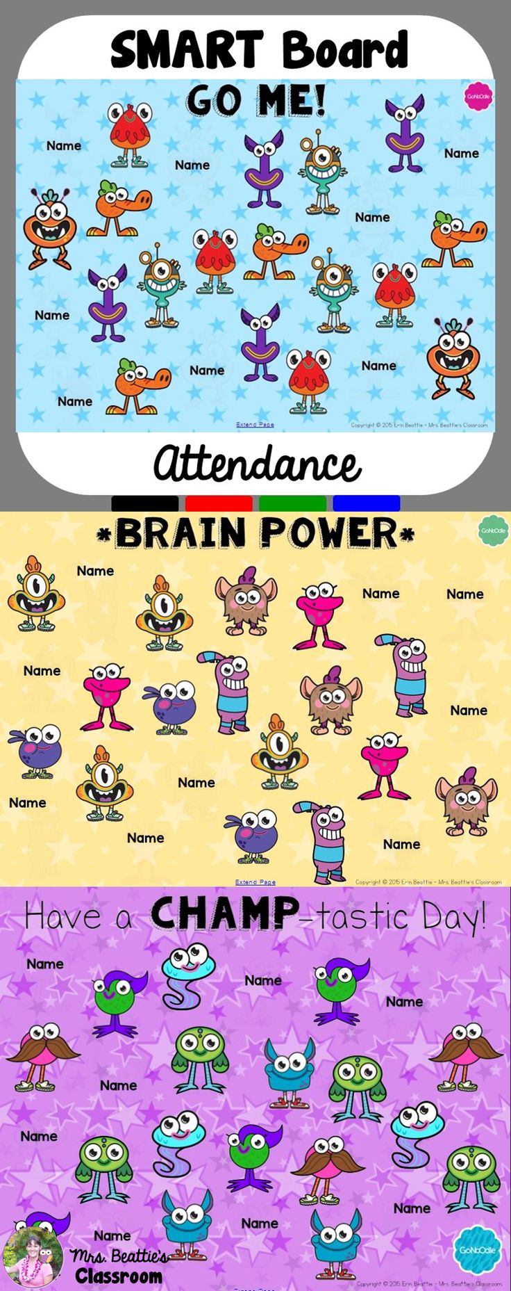 Get your attendance routine organized with these FREE GoNoodle attendance files for your SMART Board! It is a fun, interactive way to check which of your students are present and which are absent! #smartboard #gonoodle #attendance #free