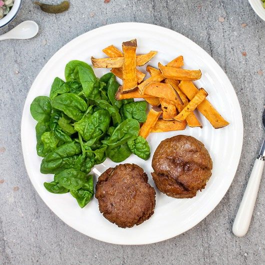 Tuna burgers with Sweet Potato Fries - Freshly Prepped, Ready to Eat - 67g Protein - Macros P:60 C:8 F:32