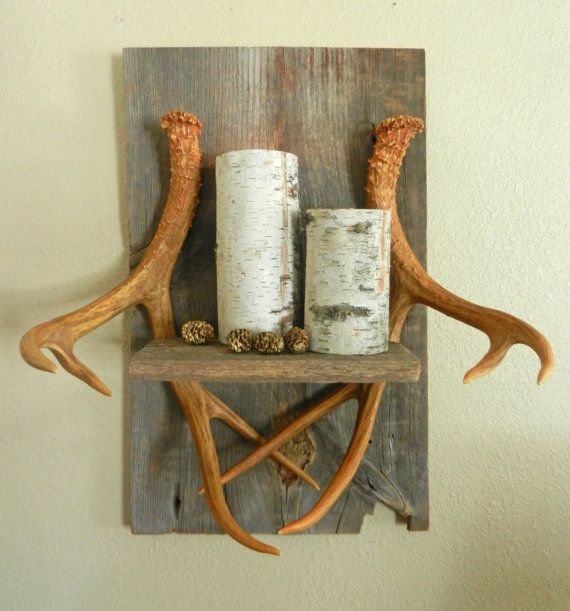 Deer antler wall shelf home decor cabin decor man cave for Antler decorations for home