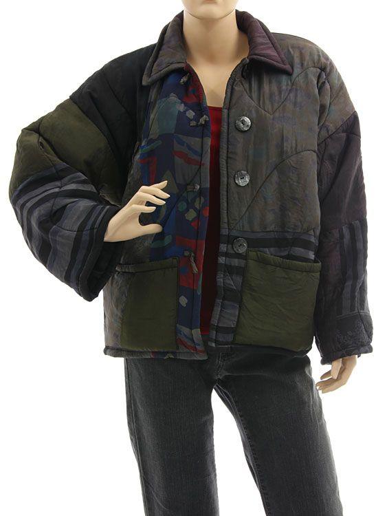 Boho artsy silk coat jacket, patchwork black olive berry M L - Artikeldetailansicht - CLASSYDRESS Lagenlook Art to Wear Women's Clothing