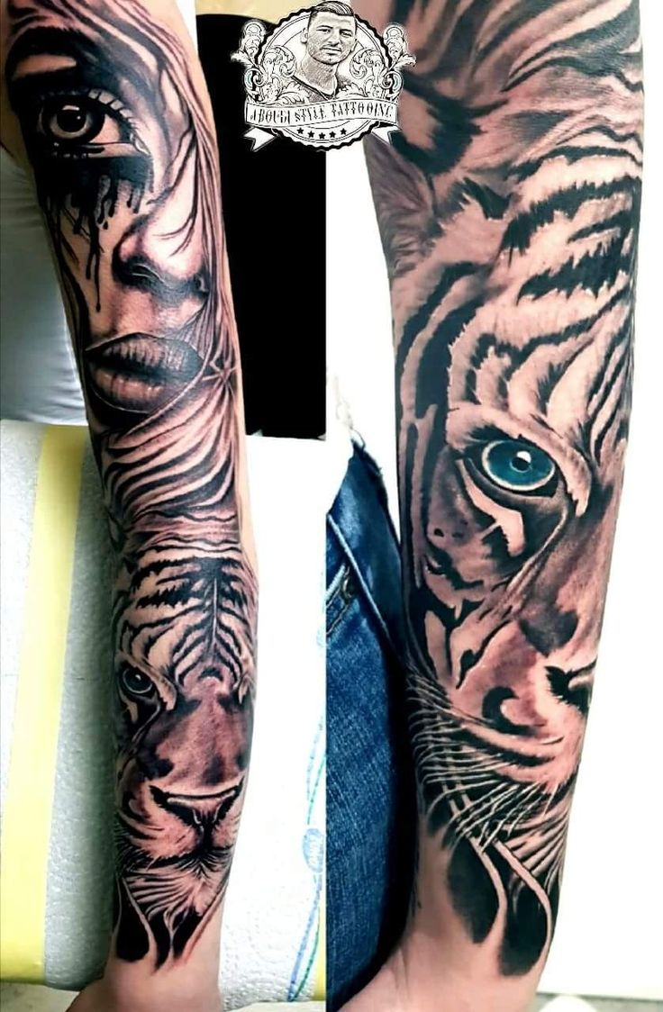 ganzen arm tiger tattoo mit frau gesicht t towieren aboudi. Black Bedroom Furniture Sets. Home Design Ideas