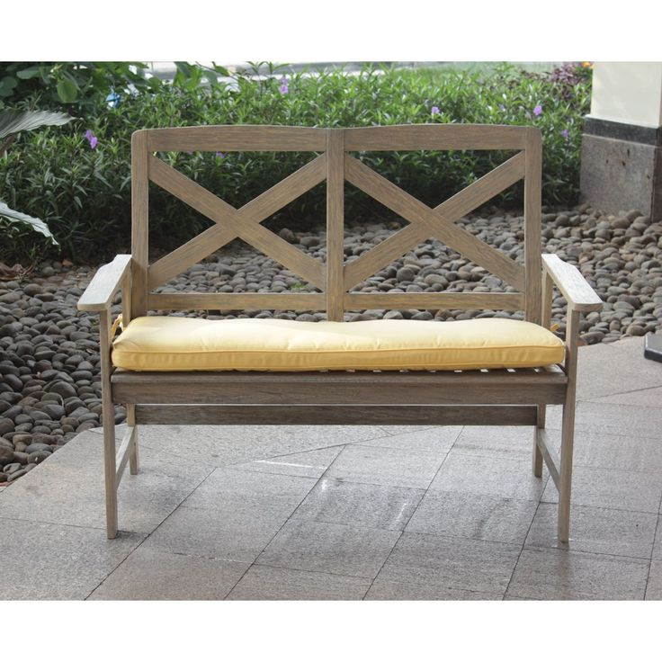 Cambridge Casual West Lake 4-foot Bench with Yellow Seat Pad (48.75 in. L x 25.75 in. W x 37.75 in. H, Grey), Patio Furniture (Mahogany)