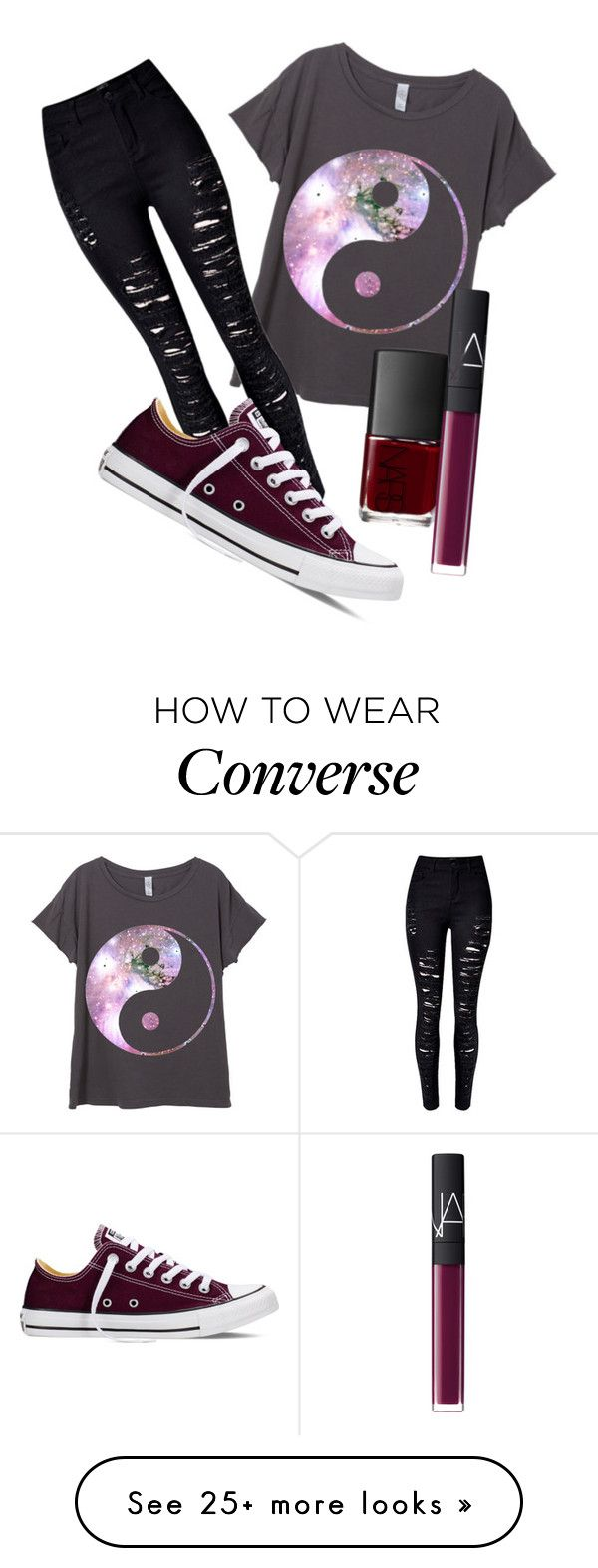 """Dark Lip "" by luvcokies on Polyvore featuring Converse, NARS Cosmetics, women's clothing, women's fashion, women, female, woman, misses and juniors"