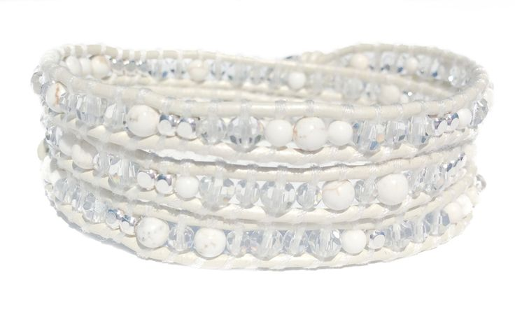 BRACELET | HAIRBAND | ANKLET | White leather with crystals and silver plated square beads.  A Da Costa Favourite!  ONLY $54.99 #HowiteStone #JewelryStone #weddingbracelet #CrystalJewelry #JewelryFashion