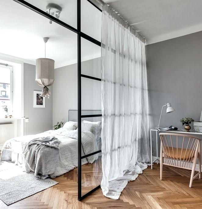 Studio Apartment Partition Glass Room Divider For An Open Bedroom