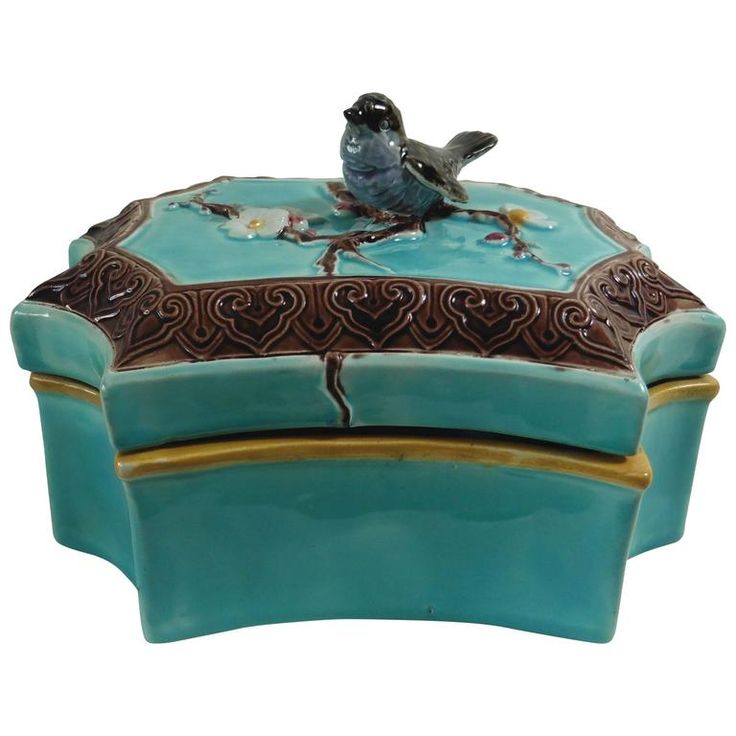 19th Victorian Majolica Bird Box Joseph Holdcroft | From a unique collection of antique and modern boxes at https://www.1stdibs.com/furniture/decorative-objects/boxes/