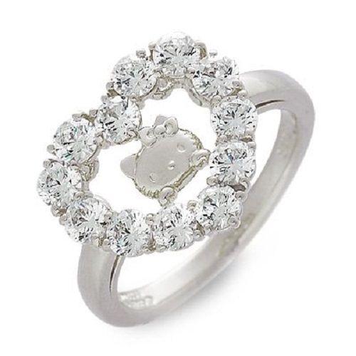 Hello Kitty x Swarovski Silver Ring Wedding Engagement Japan Gift Order Size