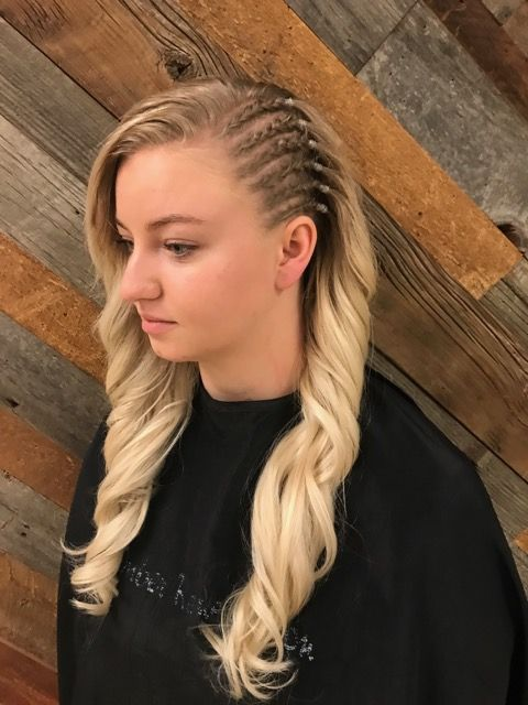 Faux shaved side cornrows braids