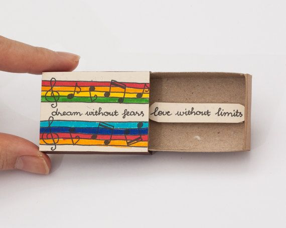 "Cute Fun Encouragement Card Matchbox/ Gift box / Message box ""Dream without fears - love without limits"""