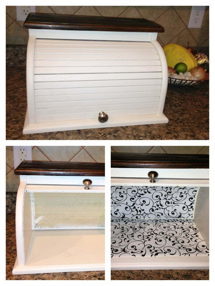 DIY Breadbox was a thrift store find and re-painted in antique white and top stained in dark walnut with a new knob.