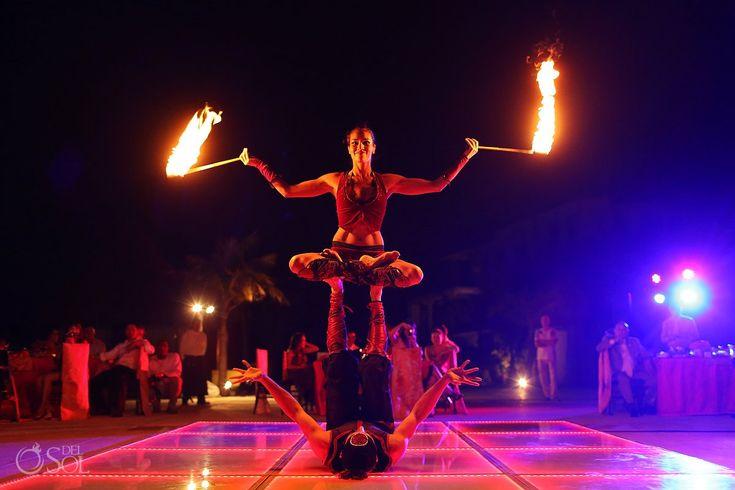 Fire show - A totally unique reception entertainment idea at #MoonPalace  Cancun photographers Del Sol Photography