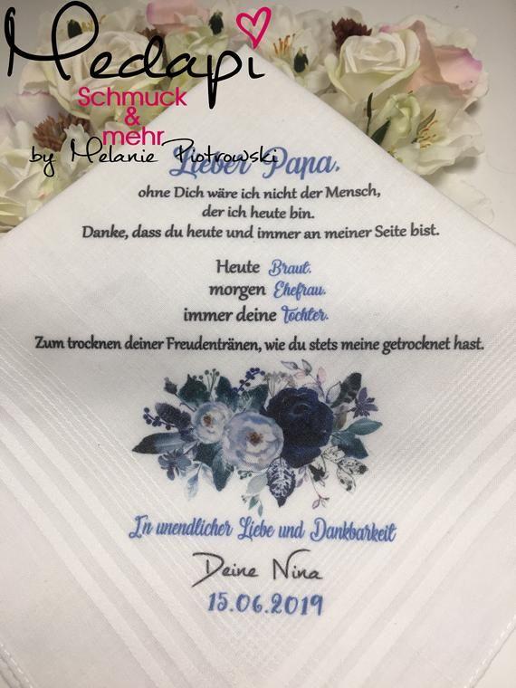 Handkerchief As Desired Printed With Desired Motif And Text Flowers Tears Of Joy Gift For Parents Personalized Taschentucher Braut Und Unendliche Liebe