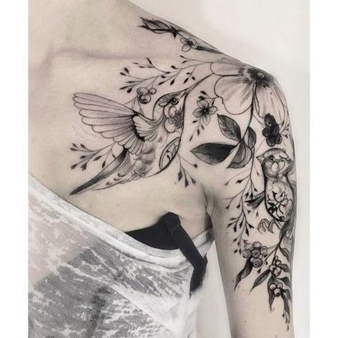 Amazing Hummingbird and Flower Tattoos on Shoulder for Women ❤ liked on Polyvore featuring accessories