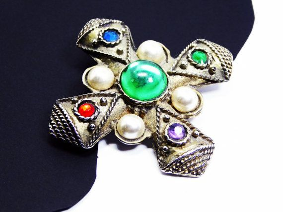 Bejeweled Maltese Cross Brooch - Light Gold Tone - Pearlescent White Cabs - Transparent Purple, Green, Blue & Red Flatbacks - Vintage 1960s