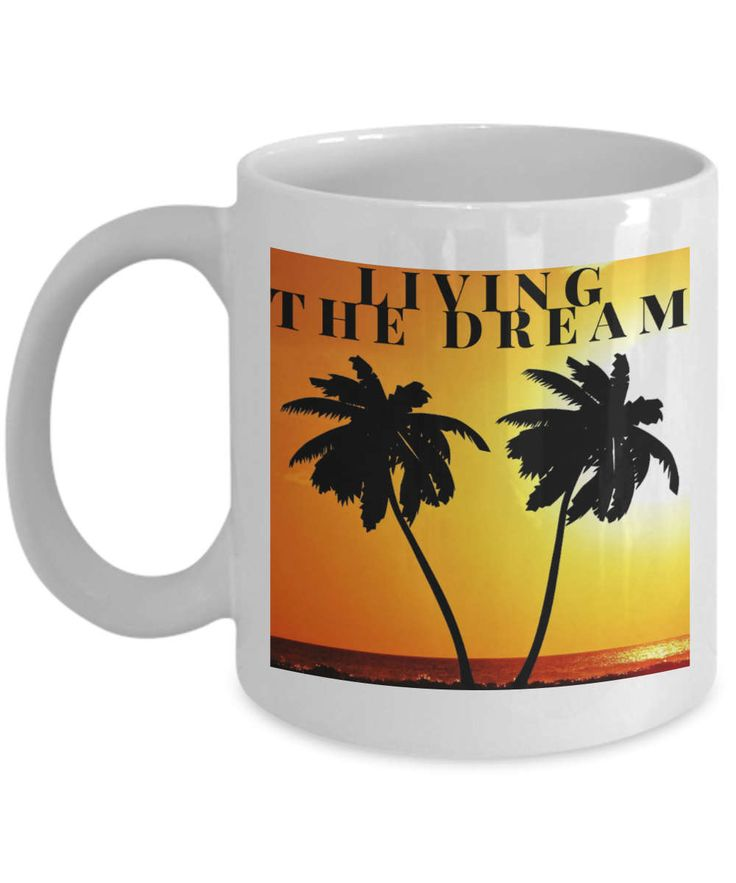 Living the dream mug, living the dream coffee mug, beach and palm trees coffee mug, beach and palm trees mug, makes a great gift mug. by BearHugBoutique on Etsy