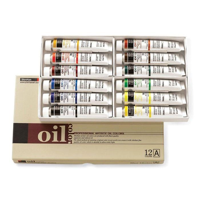Oil Color Paint Set Shinhan Professional 12 Colors 50ml A Tube Artist Drawing #Shinhan