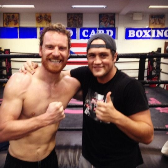 Michael Fassbender at Wild Card Boxing Club (July 2017)
