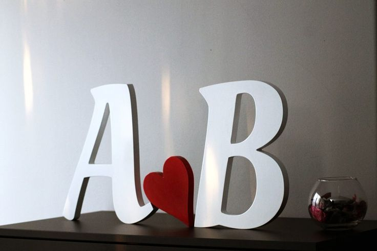 Free standing letters painted...These wooden letters are the initials of the name of a couple ... great gift idea