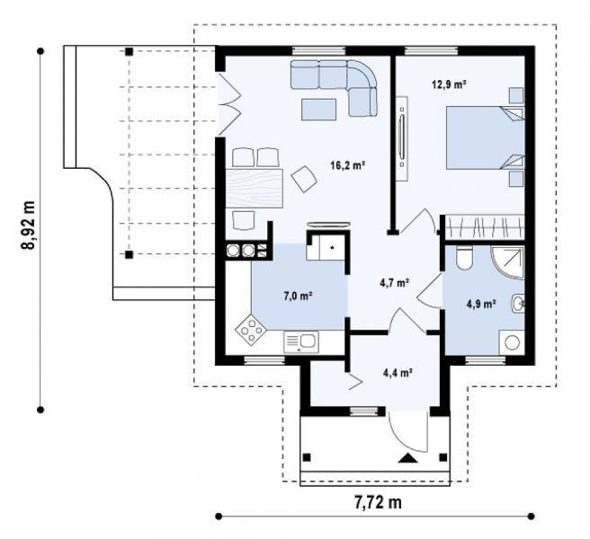 modele de case mici pentru parinti 1 plan