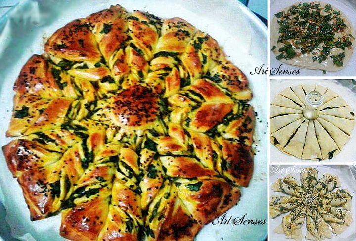 Gevlochten brood met spinazie