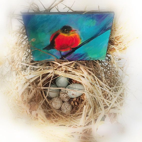 Red Robbin aceo original EtsyGifts 2.50x3.50 inches