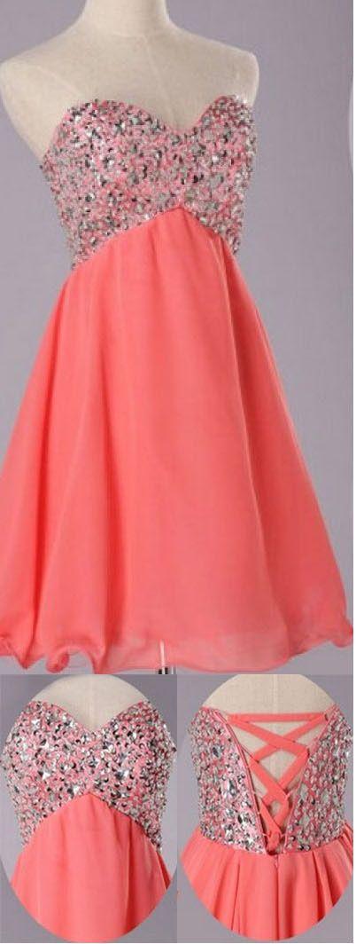 Sexy A-line Sweetheart Short Chiffon Lace-up Beading Homecoming Dress Bridesmaid Dresses