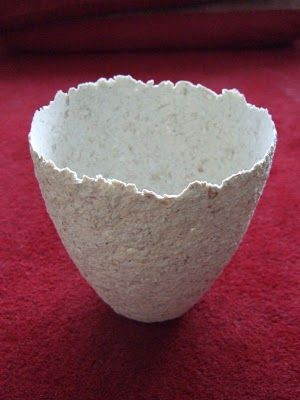 Cecilia Levy paper pulp urn The process of preparing the pulp: shred paper into a bowl, soak over night, simmer on the stove for 20 minutes, mix in a blender, stir in some PVA.