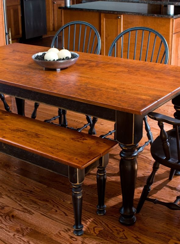 Black And Cherry Kitchen Table Part - 36: Cherry Dining Table U0026 Matching Bench. Love The Turned Legs