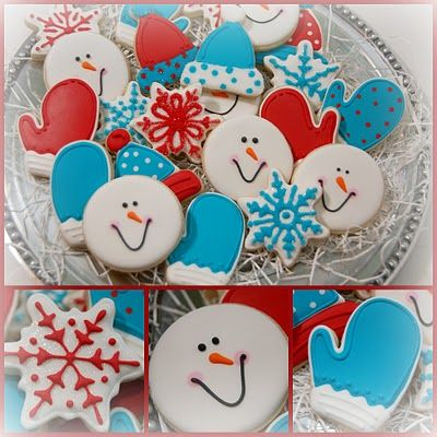 Turquoise and red Christmas cookies: