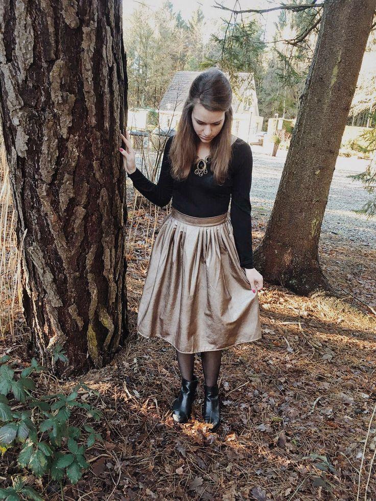 Outfit: Gouden rok