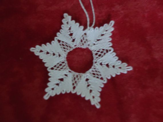 Bobbin lace Christmas snowflake decoration by ThymeCrafts on Etsy, £3.50