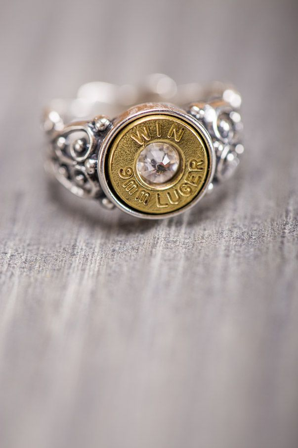 Size 7 - $59, Sz 9 (custom) - $89, Silver Filigree Band w/9MM Bullet Ring w/Swarovski crystal - Bluegrass Designs in Lexington, KY supports our Veterans and a portion of the sale of this item will be donated to Wounded Warriors.Bullet Ring on Bourbonandboot.com