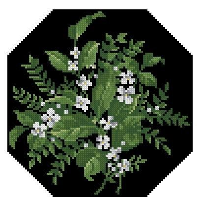 Small white flowers antique cross stitch pattern
