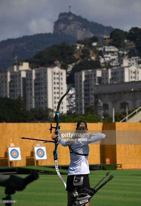 A member of Slovenia's archery team takes part in a training session at the Sambodromo arena in Rio de Janeiro on August 2, 2016, ahead of the Rio 2016 Olympic Games.
