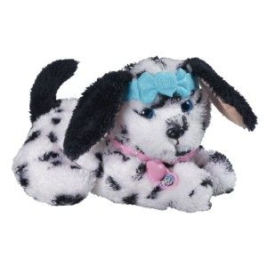 FurReal Friends Dress Me Babies Spots 'N Dots Pup Spots 'n Dots Pup moves her paws and barks. The puppy's collar can be worn as a bracelet and comes with comes with a headband, collar/bracelet, and pet care guide. http://bit.ly/1AeSvbF
