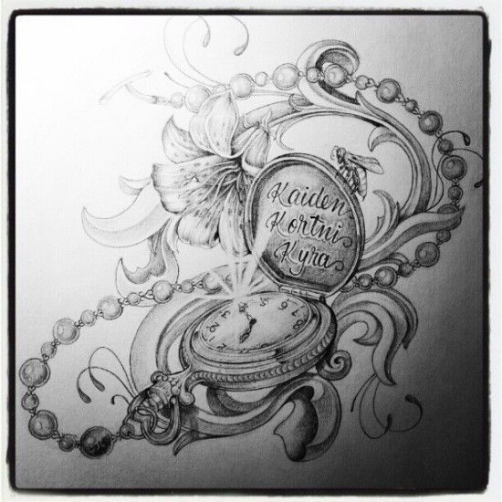 Bildergebnis für pocket watch drawing tattoo