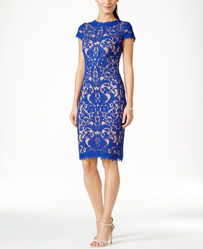 Tadashi Shoji Cap-Sleeve Embroidered Sheath Dress                                                                                                                                                                                 More