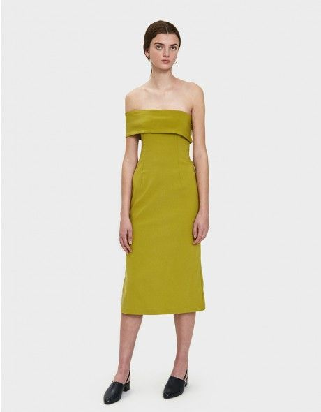 328700d299d Straight neckline. Wide one shoulder strap. Concealed side zip closure.  Straight hem with deep side slit. Unlined. Mid-calf length. Fitted dress ...