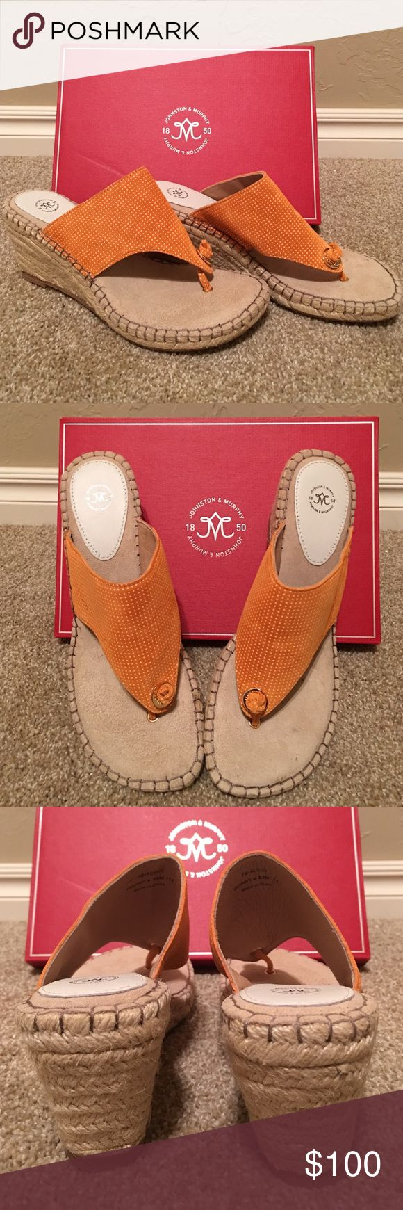 "BNIB Johnston & Murphy espadrilles🎉MAKE OFFER!🎉 Authentic Johnston & Murphy sandals. It has a suede upper and cushioned footbed. 2 3/4"" wedge heels. Color is a nice orange/tan white polka dots. Great spring slip on sandals! Size runs small so probably best fits a size 8😉😉 Johnston & Murphy Shoes Espadrilles"