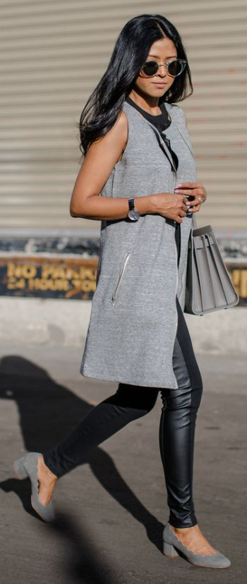 Sheryl Luke + utterly chic + marl grey sleeveless jacket + leather leggings + smart casual style to die for + suede shoes + winter style.   Jacket: Macy's.
