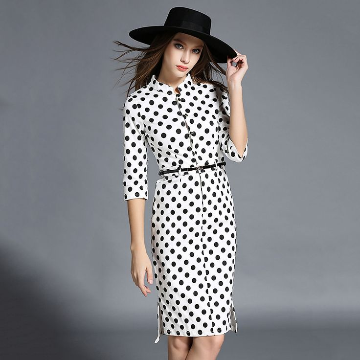 ==> [Free Shipping] Buy Best Fall New European High end Five Thin Sleeve Step Wave Print dot printed elegant fashion trends female Office lady Dress Online with LOWEST Price   32585998598